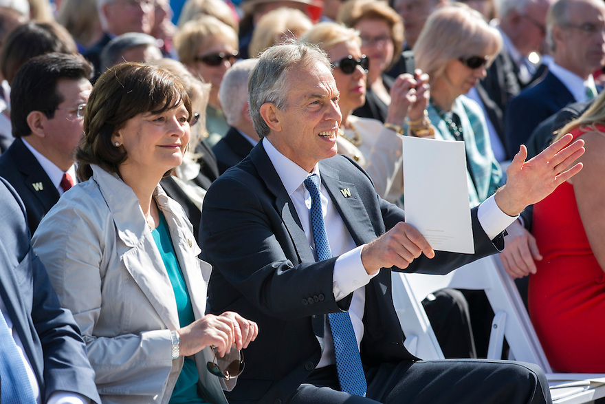 Former British Prime Minister Tony Blair and his wife Cherie attend the dedication of the George W. Bush presidential library on the campus of Southern Methodist University in Dallas.