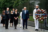 Cindy McCain, wife of, Sen. John McCain, R-Ariz., fourth from right, accompanied by President Donald Trump's Chief of Staff John Kelly, second from right, Defense Secretary Jim Mattis, second from left, and family members, arrives at the Vietnam Veterans Memorial in Washington, Saturday, Sept. 1, 2018, during a funeral procession to carry the casket of her husband from the U.S. Capitol to National Cathedral for a Memorial Service. McCain served as a Navy pilot during the Vietnam War and was a prisoner of war for more than five years. Also pictured is Seaman Celeb Harrington of Fresno, Calif., right. <br /> Credit: Andrew Harnik / Pool via CNP