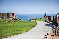 Locals enjoying a Summer afternoon at Inspiration Point in Corona Del Mar