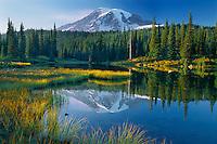 Mount Rainier from Reflection Lakes<br /> Mount Rainier National Park<br /> Cascade Range<br /> Washington