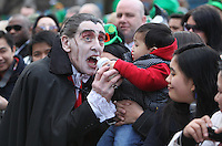 17/03/2011.Peformers & Entertainers PAddy Dracula.during the St. Patrick's Day festival in Dublin's City Centre..Photo: Gareth Chaney Collins