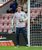 Goalkeeper Dean Henderson (Shrewsbury Town (on loan from Manchester United) of England U21 warms up ahead of the UEFA EURO U-21 First qualifying round International match between England 21 and Latvia U21 at the Goldsands Stadium, Bournemouth, England on 5 September 2017. Photo by Andy Rowland.