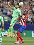 Atletico de Madrid's Jackson Martinez (r) and Getafe's Juan Rodriguez during La Liga match.September 22,2015. (ALTERPHOTOS/Acero)