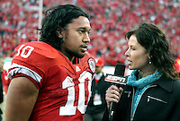 Nebraska I-back Roy Helu Jr.(10) does a post-game interview after breaking Nebraska's rushing record. Helu rushed for a school-record 307 yards on 28 carries, with three touchdowns. No. 14 Nebraska beat  No. 7 Missouri 31-17 at Memorial Stadium in Lincoln, Nebraska.