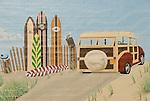 Painted beach scene mural
