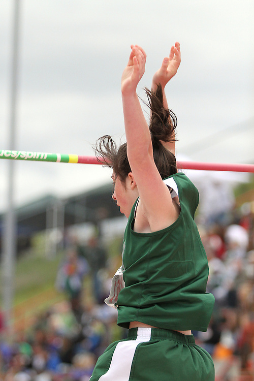 Photograph from the WIAA State Championships at Eastern Washington University in Cheney, Washington, during the 2010 Mt. Rainier Lutheran High School track and field season (pole vault photo sequence, 12 of 14).