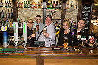 Pictured from left are Rachael Weaver, Ben Lovegrove, owner Michael Perry, Samantha Adams and Lois Hayes at The Fountain Bridge carvery restaurant and pub in Kirkby in Ashfield, Nottinghamshire.