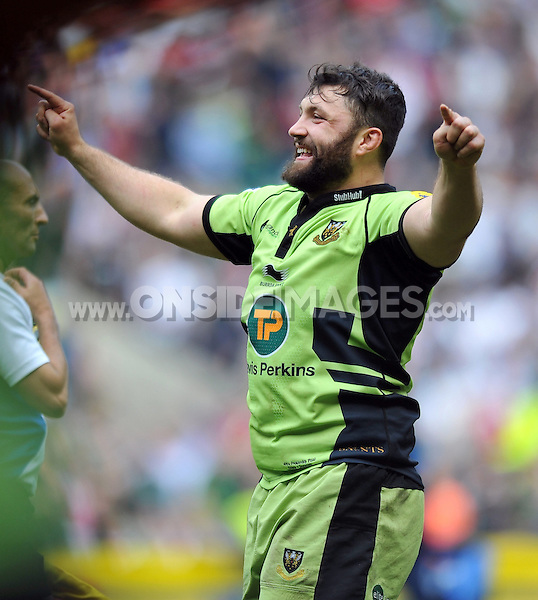 Alex Corbisiero celebrates after the final whistle. Aviva Premiership Final, between Saracens and Northampton Saints on May 31, 2014 at Twickenham Stadium in London, England. Photo by: Patrick Khachfe / JMP