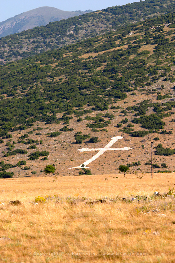 A man made cross on the hill side. Drama, Macedonia, Greece