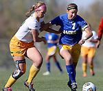 BROOKINGS, SD - OCTOBER 18: Natalie Fenske #16 from North Dakota State applies pressure to Diana Potterveld #7 from South Dakota State during their game Sunday afternoon at Fischback Soccer Field in Brookings. (Photo by Dave Eggen/Inertia)