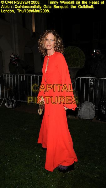 TRINNY WOODALL.Feast Of Albion Quintessentially Gala Banquet, The Guildhall, London, England, March 13th 2008..full length red dress long sleeves kaftan purple platform wedges.CAP/CAN.©Can Nguyen/Capital Pictures