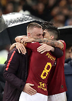 Football, Serie A: AS Roma - Parma, Olympic stadium, Rome, May 26, 2019. <br /> Roma's Diego Perotti (r) celebrates after scoring with his captain Daniele De Rossi (l) during the Italian Serie A football match between Roma and Parma at Olympic stadium in Rome, on May 26, 2019.<br /> UPDATE IMAGES PRESS/Isabella Bonotto