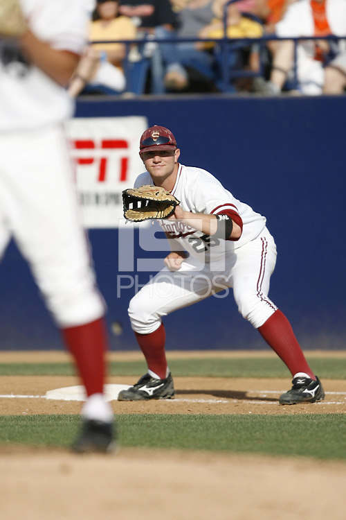 7 June 2008: Stanford Cardinal Brent Milleville during Stanford's 8-5 win against the Fullerton Titans in game 2 of the NCAA Super Regional series at Goodwin Field in Fullerton, CA.