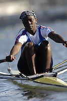 Seville. SPAIN, 18.02.2007, KEN LW1X Caroline OWESE, moves away from the start pontoon during Sunday morning's  heats, at the FISA Team Cup, held on the River Guadalquiver course. [Photo Peter Spurrier/Intersport Images]    [Mandatory Credit, Peter Spurier/ Intersport Images]. , Rowing Course: Rio Guadalquiver Rowing Course, Seville, SPAIN,