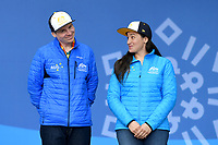 Day 5 / Melissa Perrine w/guide Christian Geiger receive their Bronze medals for the Women's Super Combined <br /> PyeongChang 2018 Paralympic Games<br /> Australian Paralympic Committee<br /> PyeongChang South Korea<br /> Wednesday March 14th 2018<br /> &copy; Sport the library / Jeff Crow