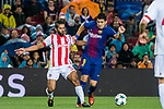 Luis Alberto Suarez Diaz (r) of FC Barcelona fights for the ball with Mehdi Carcela of Olympiacos FC during the UEFA Champions League 2017-18 match between FC Barcelona and Olympiacos FC at Camp Nou on 18 October 2017 in Barcelona, Spain. Photo by Vicens Gimenez / Power Sport Images