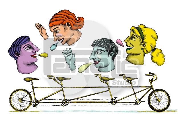 Illustrative image of people with tandem bicycle representing networking