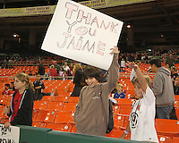Fans during festivities surrounding the final appearance of Jaime Moreno in a D.C. United uniform, at RFK Stadium, in Washington D.C. on October 23, 2010. Toronto won 3-2.