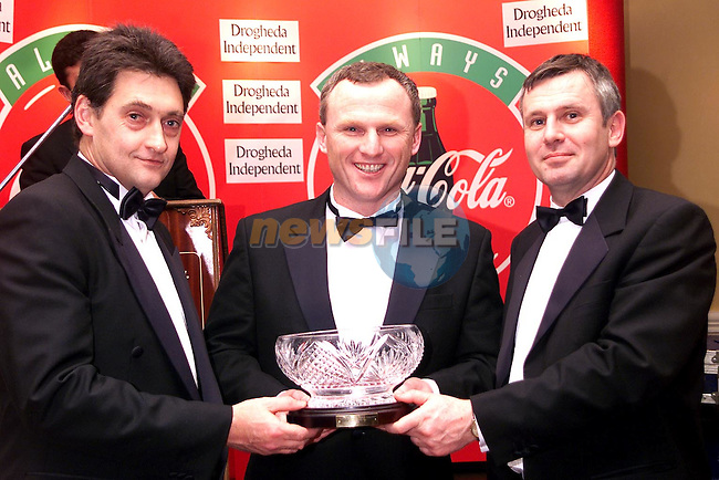 The Drogheda Independent/Drogheda Concentrates Sportstar of the Year Award, Nigel Beirth recieving his award from Evan Taylor of Drogheda Concentrates and Donagh O'Doherty, Managing Director Drogheda Independent..Picture Paul Mohan Newsfile