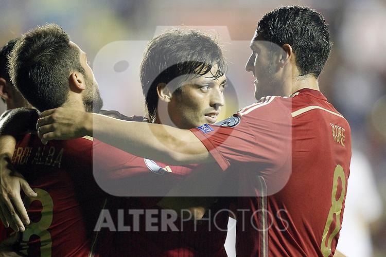 Spain's Jordi Alba, David Jimenez Silva and Koke celebrate goal during 15th UEFA European Championship Qualifying Round match. September 8,2014.(ALTERPHOTOS/Acero)