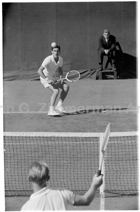 Australian player Lew Hoad (foreground) plays in 1956 U.S. Men's National Championship against fellow Australian Ken Rosewall. West Side Tennis Club, Forest Hills, New York. Photograph by John G. Zimmerman