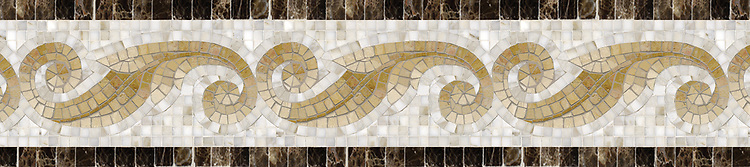 "9 1/16"" Caesar Scroll border, a hand-cut stone mosaic, shown in polished Emperador Dark, Calacatta Tia, Travertine White, Renaissance Bronze, Jerusalem Gold, and Giallo Reale."