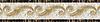 "9 1/16"" Caesar Scroll border, a hand-cut stone mosaic, shown in polished Emperador Dark, Calacatta Tia, Travertine White, Renaissance Bronze, Jerusalem Gold, and Giallo Reale."