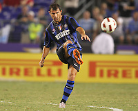 Goran Pandev #27 of Inter Milan during an international friendly match against Manchester City on July 31 2010 at M&T Bank Stadium in Baltimore, Maryland. Milan won 3-0.