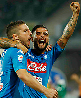 Dries Mertens celebrates with Lorenzo Insigne  after scoring during the  italian serie a soccer match,between SSC Napoli and Atalanta      at  the San  Paolo   stadium in Naples  Italy , August 27, 2017