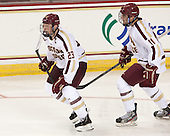 Patrick Brown (BC - 23), Chris Calnan (BC - 11) - The Boston College Eagles defeated the visiting St. Francis Xavier University X-Men 8-2 in an exhibition game on Sunday, October 6, 2013, at Kelley Rink in Conte Forum in Chestnut Hill, Massachusetts.
