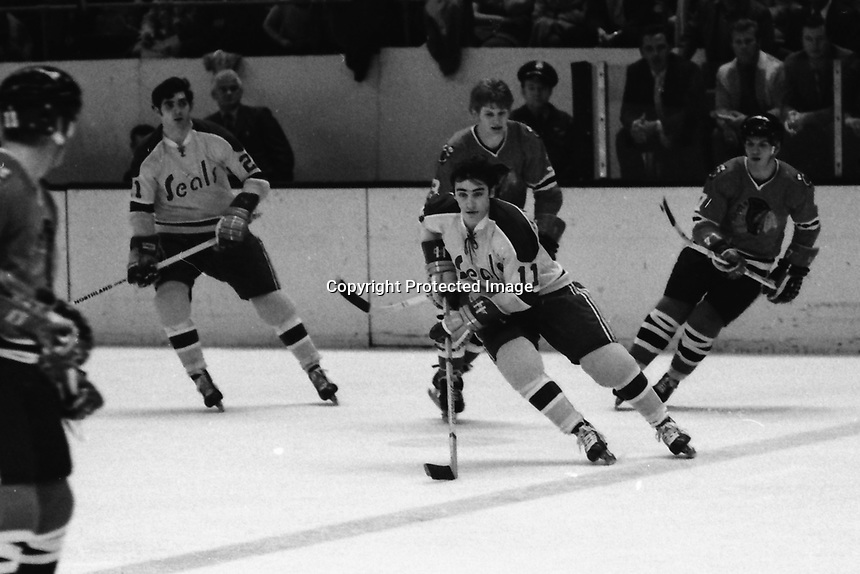 Seals Don O'Donoghue trailed by Keith Magnuson of the Chicago Black Hawks (1970 photo/Ron Riesterer)