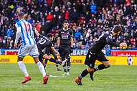 Crystal Palace's midfielder Andros Townsend (10) free kick hits the wall during the EPL - Premier League match between Huddersfield Town and Crystal Palace at the John Smith's Stadium, Huddersfield, England on 17 March 2018. Photo by Stephen Buckley / PRiME Media Images.
