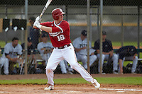 Indiana Hoosiers infielder Trace Knoblauch #18 during a game against the Pittsburgh Panthers at the Big Ten/Big East Challenge at the Walter Fuller Complex on February 19, 2012 in St. Petersburg, Florida.  (Mike Janes/Four Seam Images)