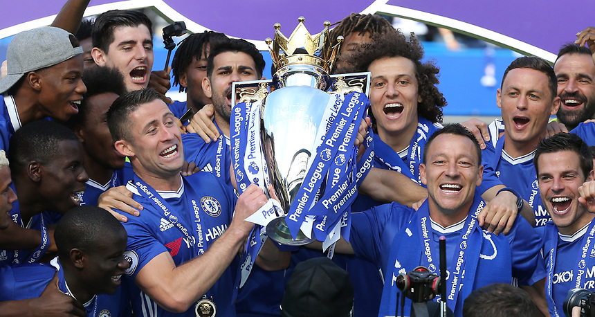 Chelsea's John Terry and Gary Cahill lift the trophy<br /> <br /> Photographer Rob Newell/CameraSport<br /> <br /> The Premier League - Chelsea v Sunderland - Sunday 21st May 2017 - Stamford Bridge - London<br /> <br /> World Copyright &copy; 2017 CameraSport. All rights reserved. 43 Linden Ave. Countesthorpe. Leicester. England. LE8 5PG - Tel: +44 (0) 116 277 4147 - admin@camerasport.com - www.camerasport.com