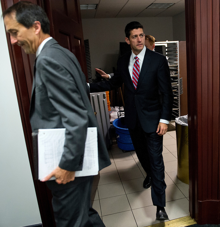 UNITED STATES - SEPTEMBER 26: Rep. Paul Ryan, R-Wisc., leaves a meeting of the Republican caucus in the Capitol. (Photo By Tom Williams/CQ Roll Call)
