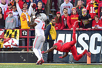 College Park, MD - NOV 12, 2016: Ohio State Buckeyes running back Curtis Samuel (4) beats Maryland Terrapins defensive back Alvin Hill (27) for a touchdown during game between Maryland and Ohio State at Capital One Field at Maryland Stadium in College Park, MD. (Photo by Phil Peters/Media Images International)