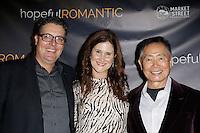 LOS ANGELES - NOV 9: Chris Ekstein, Stacy Ekstein, George Takei at the special screening of Matt Zarley's 'hopefulROMANTIC' at the American Film Institute on November 9, 2014 in Los Angeles, California