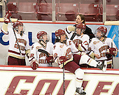 Taylor Wasylk (BC - 9), Kate Leary (BC - 28), Mary Restuccia (BC - 22), Danielle Welch (BC - 17), Katie King Crowley (BC - Head Coach), Meagan Mangene (BC - 24) - The Boston College Eagles defeated the visiting St. Lawrence University Saints 6-3 (EN) in their NCAA Quarterfinal match on Saturday, March 10, 2012, at Kelley Rink in Conte Forum in Chestnut Hill, Massachusetts.
