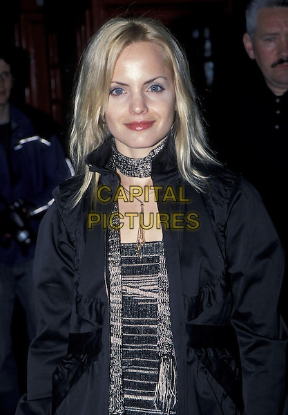 MENA SUVARI.28 April 2003.half length black jacket scarf.www.capitalpictures.com.sales@capitalpictures.com.©Capital Pictures