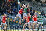 Liam Kearney, East Kerry in action against Jack Barry, St Brendans  during the Semi finals of the Kerry Senior GAA Football Championship between East Kerry and Saint Brendans at Fitzgerald Stadium on Sunday.