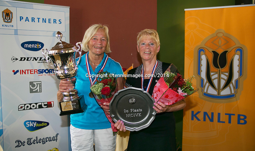 August 24, 2014, Netherlands, Amstelveen, De Kegel, National Veterans Championships, Final lady's 65+ Winer Anneke Jelsma_de Jong and runner up Hélène van Schaik-vd Horst (R)<br /> Photo: Tennisimages/Henk Koster