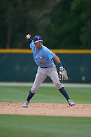 Tampa Bay Rays Jonathan Aranda (96) throws to first base during a Minor League Spring Training game against the Baltimore Orioles on March 16, 2019 at the Buck O'Neil Baseball Complex in Sarasota, Florida.  (Mike Janes/Four Seam Images)