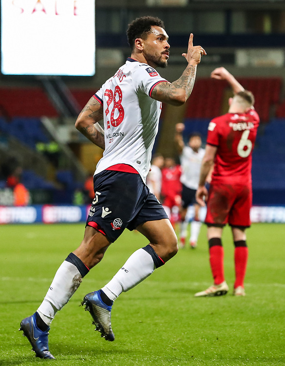 Bolton Wanderers' Josh Magennis celebrates scoring his side's fifth goal and completing his hat-trick<br /> <br /> Photographer Andrew Kearns/CameraSport<br /> <br /> Emirates FA Cup Third Round - Bolton Wanderers v Walsall - Saturday 5th January 2019 - University of Bolton Stadium - Bolton<br />  <br /> World Copyright © 2019 CameraSport. All rights reserved. 43 Linden Ave. Countesthorpe. Leicester. England. LE8 5PG - Tel: +44 (0) 116 277 4147 - admin@camerasport.com - www.camerasport.com