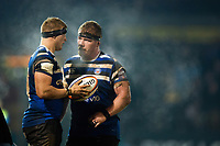 Jack Walker and Jacques van Rooyen of Bath Rugby. Premiership Rugby Cup match, between Bath Rugby and Gloucester Rugby on February 3, 2019 at the Recreation Ground in Bath, England. Photo by: Patrick Khachfe / Onside Images