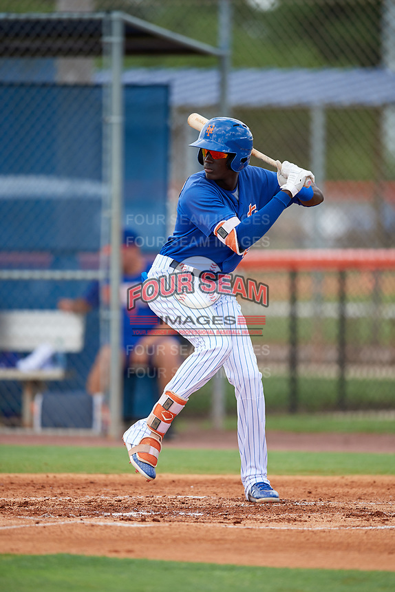 GCL Mets shortstop Ronny Mauricio (2) at bat during a game against the GCL Marlins on August 3, 2018 at St. Lucie Sports Complex in Port St. Lucie, Florida.  GCL Mets defeated GCL Marlins 3-2.  (Mike Janes/Four Seam Images)