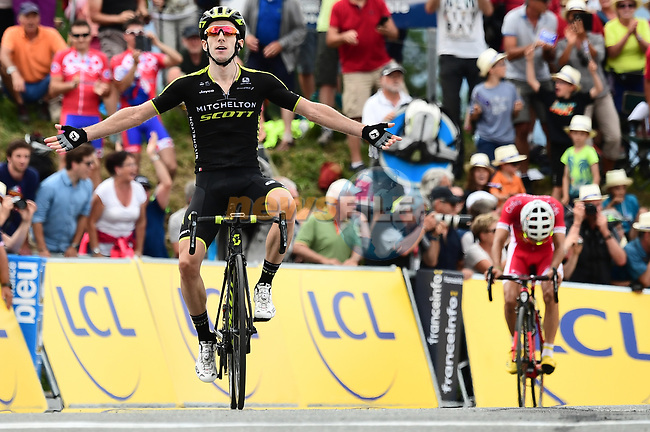 Adam Yates (GBR) Mitchelton-Scott wins solo Stage 7 of the 2018 Criterium du Dauphine 2018 running 136km from Moutiers to Saint Gervais Mont Blanc, France. 10th June 2018.<br /> Picture: ASO/Alex Broadway | Cyclefile<br /> <br /> <br /> All photos usage must carry mandatory copyright credit (© Cyclefile | ASO/Alex Broadway)