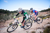 Chelva, SPAIN - MARCH 6: Jofre Cullell, Ana Aranda during Spanish Open BTT XCO on March 6, 2016 in Chelva, Spain