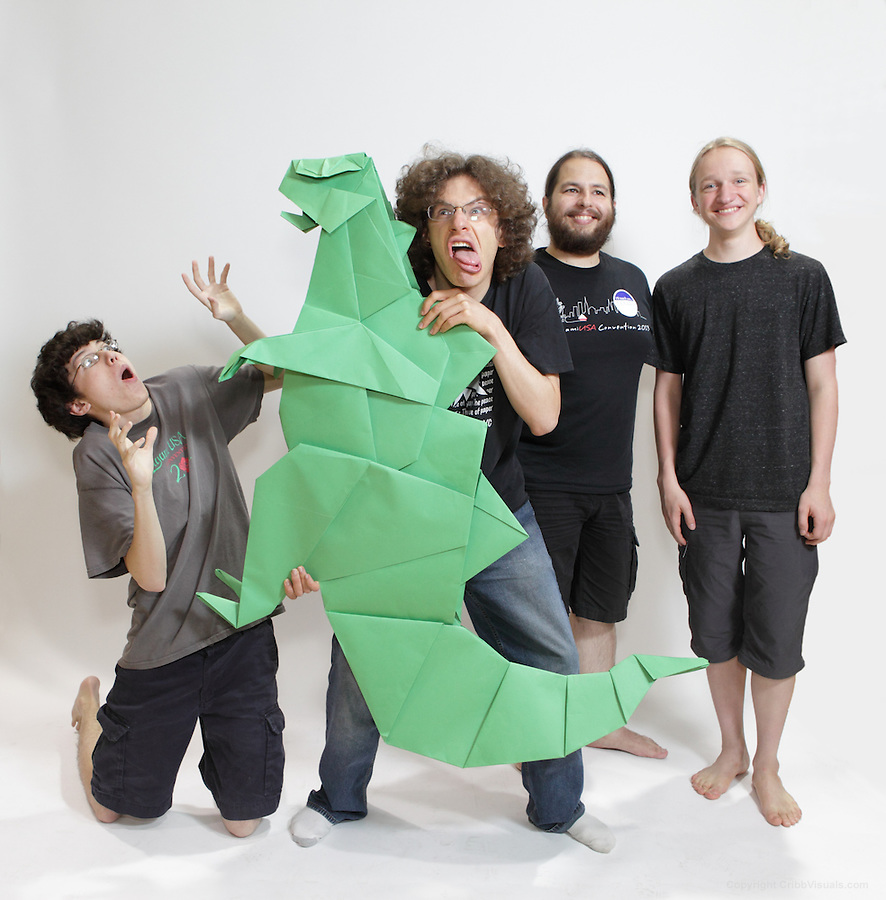 The oversized folding event. Team Manna Nama fold an origami Godzilla designed by Seiji Nishikawa. Team members (left to right): Sam Denison, Jonathan Schneider, Ben Fritzson, Rowan Pierick.