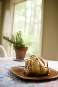"""April 27, 2008. Chapel Hill, NC.. Locavore story """"Roasting a chicken for Sunday lunch""""."""