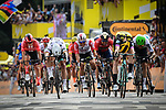 Peter Sagan (SVK) Bora-Hansgrohe and Mike Theunison (BEL) Team Jumbo-Visma lunge for the finish line of Stage 1 of the 2019 Tour de France running 194.5km from Brussels to Brussels, Belgium. 6th July 2019.<br /> Picture: ASO/Alex Broadway | Cyclefile<br /> All photos usage must carry mandatory copyright credit (© Cyclefile | ASO/Alex Broadway)